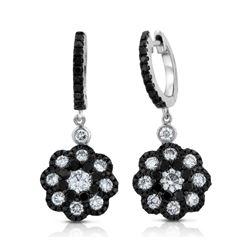 14k White Gold  2.21CTW Diamond and Black Diamonds Earring