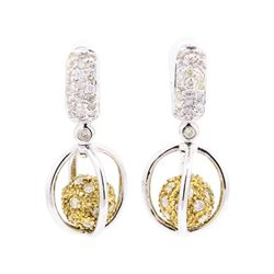 1.90 ctw Diamond Earrings - 18KT White And Yellow Gold