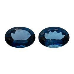 54.21 ctw. Natural Oval Cut London Blue Topaz Parcel of Two