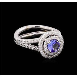 14KT White Gold 1.24 ctw Tanzanite and Diamond Ring