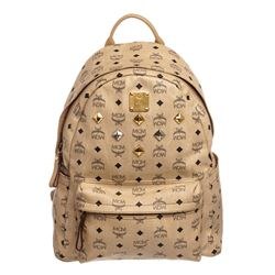 MCM Beige Visetos Coated Canvas Leather Trim Studded Stark Medium Backpack