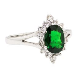 1.64 ctw Tsavorite Garnet And Diamond Ring - 14KT White Gold