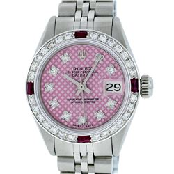 Rolex Ladies Stainless Steel Pink Stamp Diamond & Ruby Datejust Wristwatch