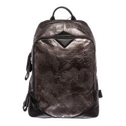 MCM Gunmetal Gray Leather Studded Stencil Lion Medium Duke Backpack