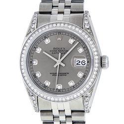Rolex Mens Stainless Steel Slate Grey Lugs & Diamond Bezel Datejust Wristwatch
