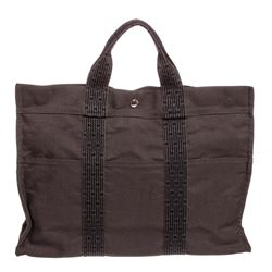 Hermes Gray Black Canvas Fourre Tout MM Tote Bag