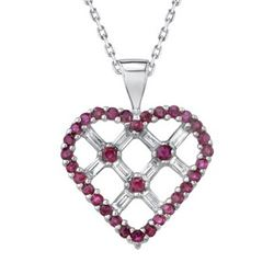 14k White Gold 0.96CTW Diamond and Ruby Pendant, (SI2 /G-H)