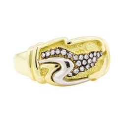 0.20 ctw Diamond Ring - 18KT Yellow Gold and Platinum