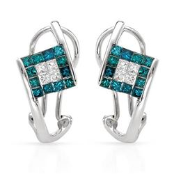 14k White Gold 0.87CTW Diamond & Blue Dia Earring, (SI3-I1/SI1-SI2/G-H/Fancy Int
