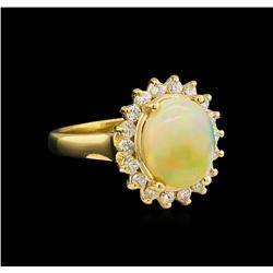 2.48 ctw Opal and Diamond Ring - 14KT Yellow Gold