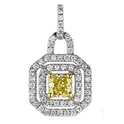 18k Two Tone Gold 0.98CTW Diamond Pendant, (VS1 /VS1-SI1/Nat-yel/G-H)