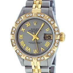 Rolex Ladies 2 Tone 14K Gray & Pyramid Diamond Datejust Wriswatch