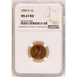 1955-S Lincoln Wheat Cent Coin NGC MS67RD
