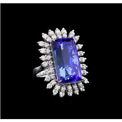 GIA Cert 26.10 ctw Tanzanite and Diamond Ring - 14KT White Gold