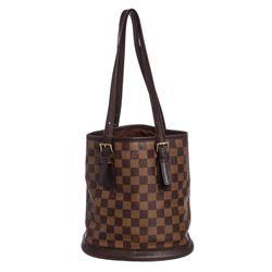Louis Vuitton Damier Ebene Canvas Leather Bucket Marais PM Bag