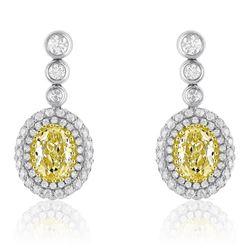 18k Two Tone Gold 2.25CTW Diamond Earring, (VS1-SI1/VS2 /G-H/Nat-yel)