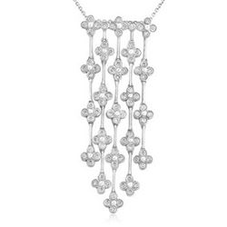 18k White Gold 1.39CTW Diamond Pendant, (SI3-I1/H-I)