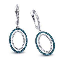 14k White Gold  0.56CTW Diamond and Blue Diamonds Earring