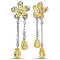 18k Yellow Gold 4.94CTW Diamond and Golden Beryl Earring, (SI1-SI2/G-H)
