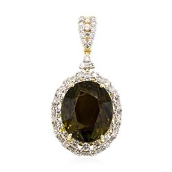 48.13 ctw Yellow Tourmaline And Diamond Pendant - 14KT Yellow Gold
