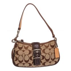 Coach Brown Monogram Canvas Suede Trim Pochette Shoulder Handbag
