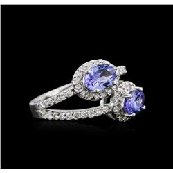 14KT White Gold 1.37 ctw Tanzanite and Diamond Ring