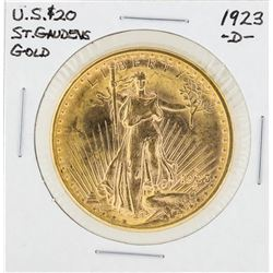 1923-D $20 St. Gaudens Double Eagle Gold Coin