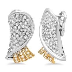 18k Gold 3.05CTW Diamond Earrings, (SI2-SI3/G-H)