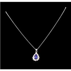 1.82 ctw Tanzanite and Diamond Pendant With Chain - 14KT White Gold