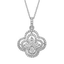 18k White Gold 0.93CTW Diamond Pendant, (SI1/G-H)
