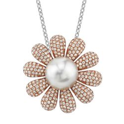 18k Rose Gold 2.05CTW Diamond and Pearl Pendant, (SI2-SI3/G-H)