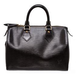 Louis Vuitton Black Epi Speedy 30 cm Satchel Bag