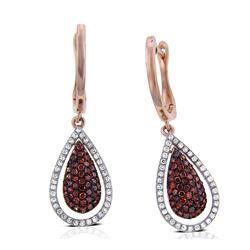 14k Rose Gold  0.59CTW Diamond and Brown Diamonds Earring
