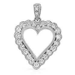 14k White Gold 0.52CTW Diamond Pendant, (SI2-SI3/G-H)
