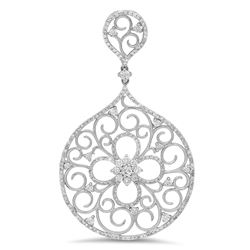 14k White Gold 1.38CTW Diamond Pendant, (SI3-I1/F-G)