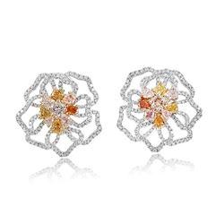18k Three Tone Gold 4.17CTW Multicolor Dia, Pink Diamond and Diamond Earring, (S