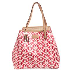 Coach Pink Monogram Coated Canvas Leather Trim Large Tote Bag