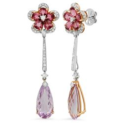 18k White Gold 11.73CTW Diamond and Amethys and Tourmaline Earring, (SI1-SI2/G-H