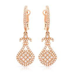 14k Rose Gold 0.75CTW Diamond Earring, (I1/I)