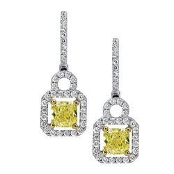 18k Two Tone Gold 1.50CTW Diamond Earring, (VS1-VS2/Nat-yel/G-H)