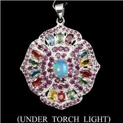 Natural White Opal Ruby Sapphire Pendant