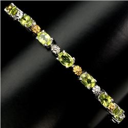Natural Top Rich Green Peridot 6x4 MM Bracelet