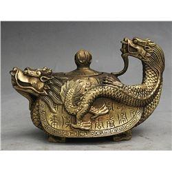 Antique Fengshui Brass  Dragon Turtle Tortoise Wine Pot