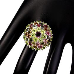 Natural Rhodolite Garnet Peridot & Tourmaline Ring