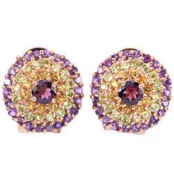 NATURAL RH-GARNET AMETHYST PERIDOT  CITRINE Earrings
