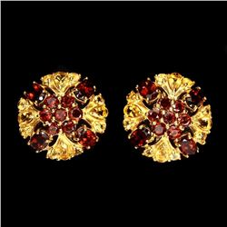 Natural Orange Mozambique Garnet Citrine Flower Earring