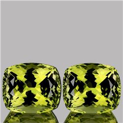 Natural Green Gold Lemon Quartz Pair 11.36 Ct - FL