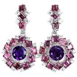 NATURAL AMETHYST, RHODOLITE GARNET Earrings