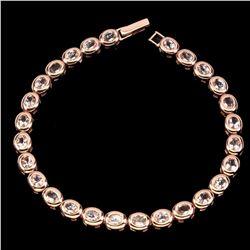 Natural Rare Oval 6x4mm Pink Morganite Bracelet