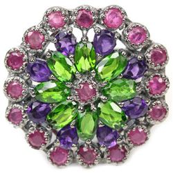Natural CHROME DIOPSIDE RUBY & AMETHYST Ring
